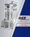 Lift and Dump Systems, Increasing the precision when metering and feeding a blancher, floor loading system, adjustable height, forklifts, pallet jack loading,sanitary feed system,three hopper sizes, electromagnet even feed conveyor, floor level access, E-Stop, Lock out tag, bean processing, vegetable processing, rice and pasta processing, potato processing